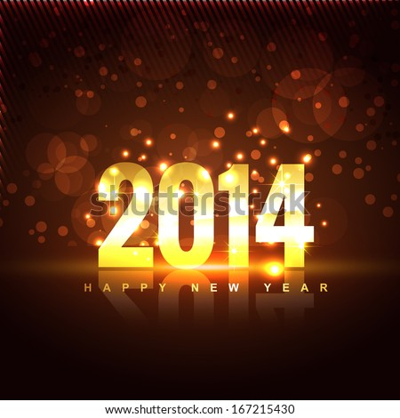 vector illustration of happy new year 2014 - stock vector