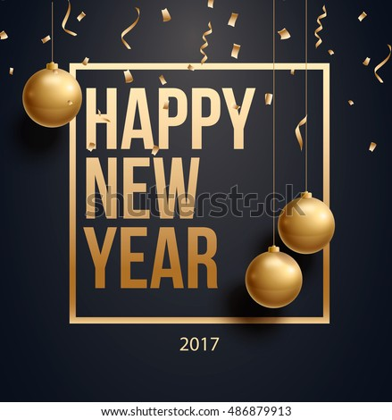 vector illustration of happy new year 2017 gold and black collors place for text christmas balls