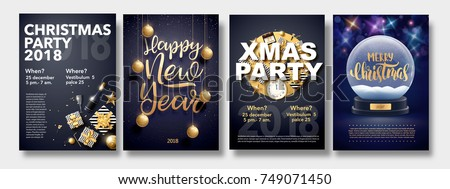 vector illustration of happy new year 2018 gold and black collors place for text christmas balls star champagne glass flayer brochure
