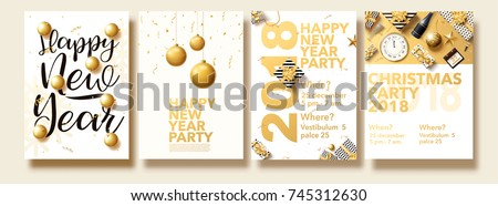 vector illustration of happy new year 2018 gold collors place for text christmas balls star champagne glass flayer brochure top view