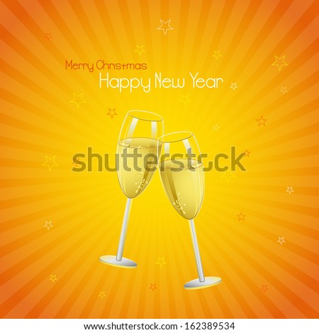 vector illustration of Happy New Year 2014 with Champagne Glass - stock vector