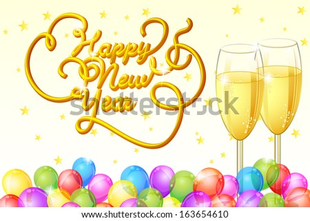 vector illustration of Happy New Year with Champagne Glass and balloon - stock vector