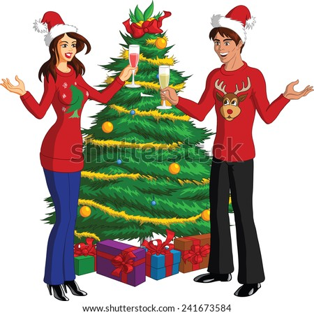 Vector illustration of happy people at a fun holiday party wearing ugly Christmas sweaters. - stock vector