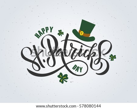 Vector illustration of Happy Saint Patrick's Day logotype.St.Patricks Day celebration design.Happy St.Patricks lettering typography. Hand sketched St.Patricks Day icon. St.Patricks beer festival badge