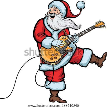 Vector illustration of happy Santa Claus playing electric guitar. Easy-edit layered vector EPS10 file scalable to any size without quality loss. High resolution raster JPG file is included.  - stock vector