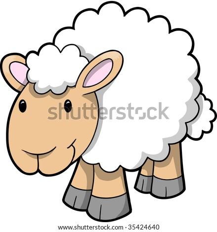 Vector Illustration of Happy Sheep - stock vector