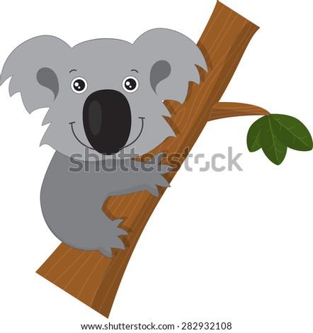 Vector illustration of happy smiling cute cartoon koala climbing on branch. Funny zoo australian animal symbol character isolated on white background - stock vector