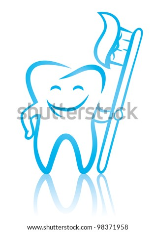 Vector illustration of  happy smiling dental tooth with toothbrush