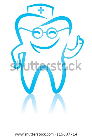 Vector illustration of  happy smiling doctor tooth