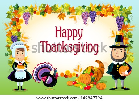 Vector illustration of happy thanksgiving day background.  - stock vector