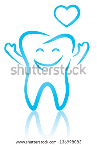 Vector illustration of happy tooth