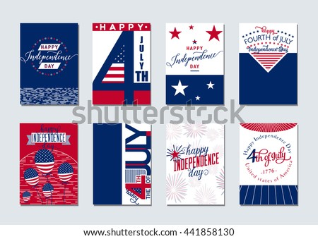Vector illustration of happy USA Independence day felicitation background set with typography, lettering element, balloon, fireworks, flag in simple vintage style. Invitation 4th july - stock vector