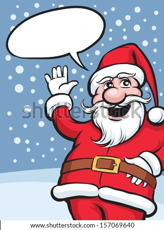 Vector illustration of happy waving Santa Claus. Easy-edit layered vector EPS10 file scalable to any size without quality loss. High resolution raster JPG file is included. - stock vector