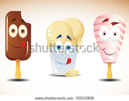 Vector illustration of 3 happy yumi ice creams. Can be used as icons. Radial and linear gradients only. Clipping masks used. - stock vector