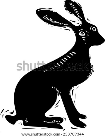Vector illustration of hare - stock vector