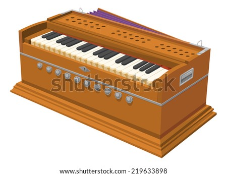 Vector illustration of harmonium. - stock vector