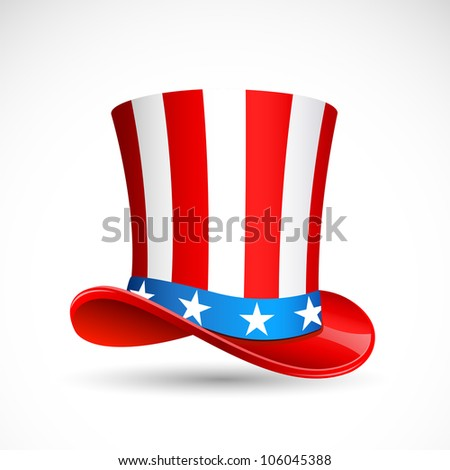 vector illustration of hat in American flag color - stock vector