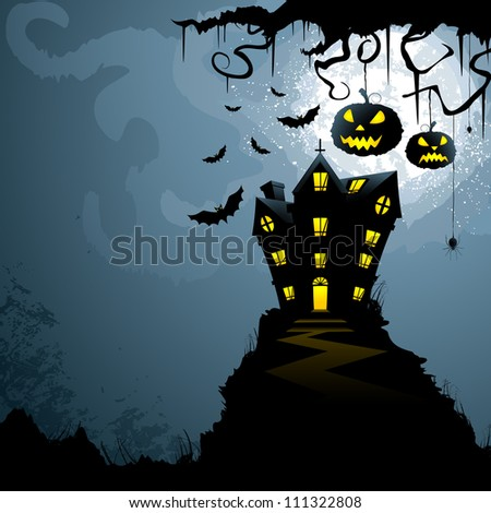 vector illustration of haunted castle in scary Halloween night - stock vector