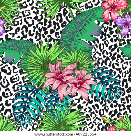 Vector Illustration of Hawaii Flowers in Sketch Style for Design, Website, Seamless Pattern. Hawaii Doodle Summer Hawaii  Plant Element Template in tropical color. Hawaii Tropical Flowers Beach Botany - stock vector