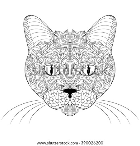 Cat handdrawn sandcat cat ethnic floral stock vector for Cat head coloring page