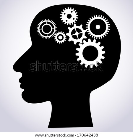 Vector illustration of head silhouette with gears mechanism as brains - stock vector