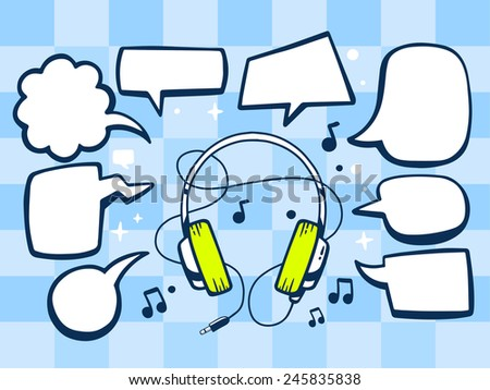 Vector illustration of headphones with speech comics bubbles on blue pattern background. Line art design for web, site, advertising, banner, poster, board and print. - stock vector