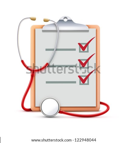Vector illustration of healthcare concept with cool check list on clipboard and red stethoscope - stock vector