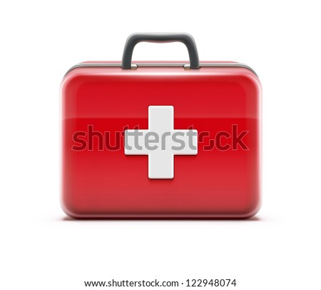 Vector illustration of healthcare concept with first aid box icon - stock vector