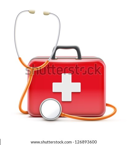 Vector illustration of healthcare concept with stethoscope and first aid box - stock vector