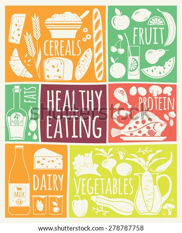 Vector illustration of Healthy Food. Elements for design - stock vector