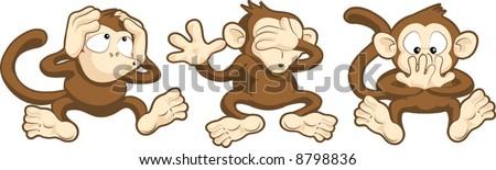 Vector illustration of hear no evil, see no evil, speak no evil monkeys - stock vector