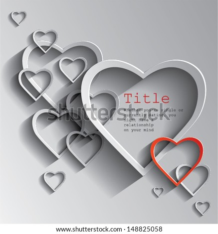 Vector illustration of heart, love, many paper hearts. - stock vector