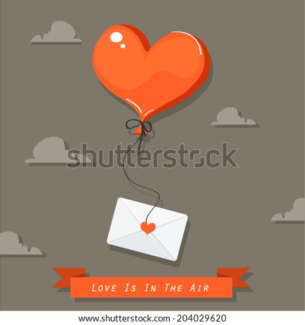 Vector illustration of heart-shaped balloon with mail icon - stock vector