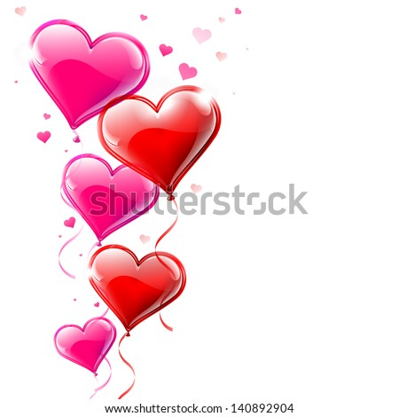 Vector illustration of heart shaped balloons flowing into the air - stock vector