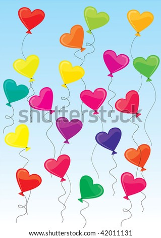 vector illustration of heart-shaped baloons