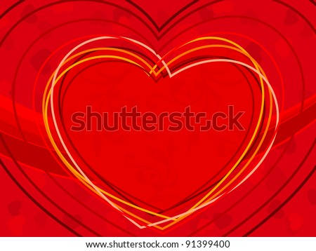 vector illustration of heart shapes made with colorful lines on red color seamless background for Valentines Day. - stock vector