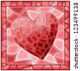 Vector illustration of heart symbol of love stained glass window with frame. - stock photo