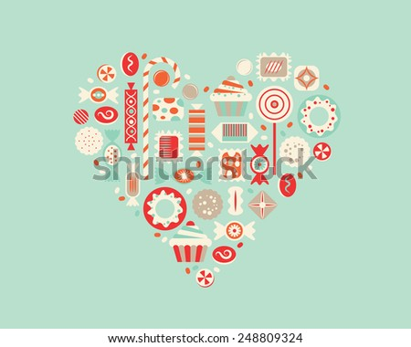 Vector illustration of heart with candies. - stock vector