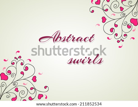 Vector illustration of Hearts and swirls on a light background