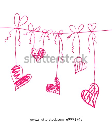 Vector illustration of hearts on strings - stock vector