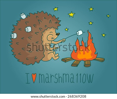 Vector Illustration of Hedgehog roast marshmallows over a campfire