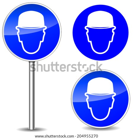 Vector illustration of helmet blue sign icons - stock vector