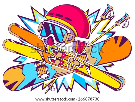 Vector illustration of helmet, snowboard and skis on a background of bright color. Hand draw line art design for web, site, advertising, banner, poster, board and print. - stock vector