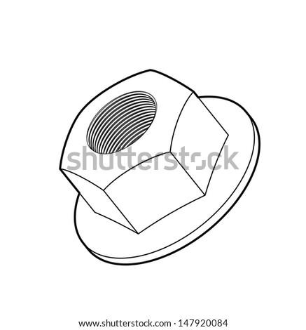 Vector illustration of hexagon nut - stock vector