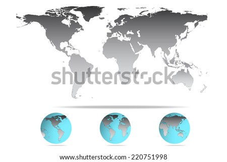 Vector illustration of high detail grey color world map.