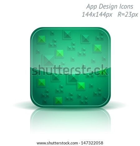 Vector illustration of high-detailed apps icon template. Abstract geometry background.