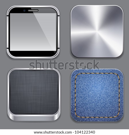 Vector illustration of high-detailed apps template icon set. - stock vector