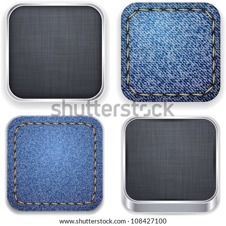 Vector illustration of high-detailed textured apps icon set. - stock vector