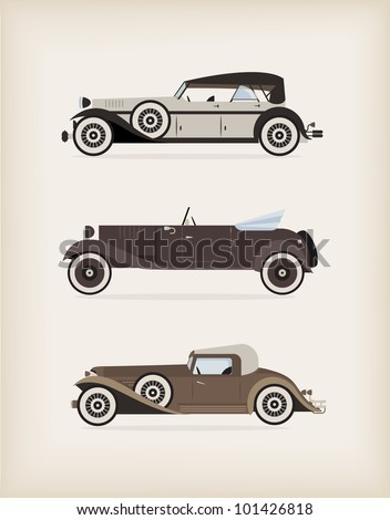 Vector illustration of high quiality vitage cars - stock vector