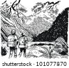 Vector illustration of hikers walking in alpine valley. - stock vector